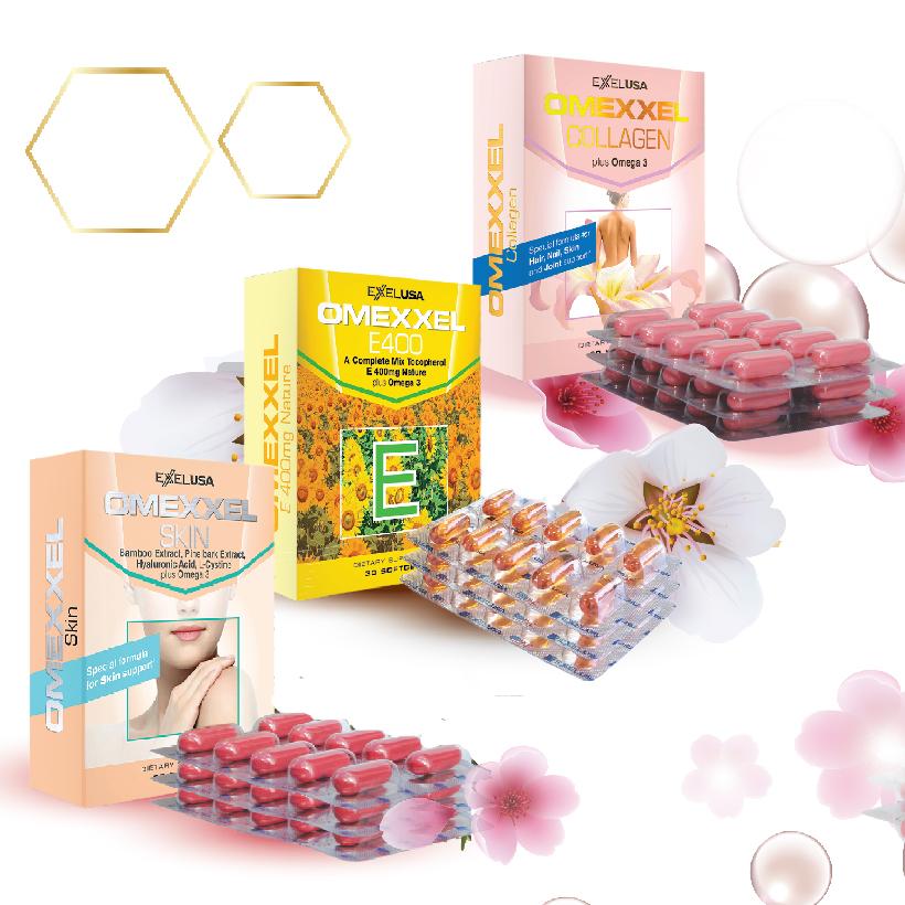 Bộ viên uống trắng da, chống lão hóa, Omexxel Skin - Omexxel Collagen - Omexxel E400