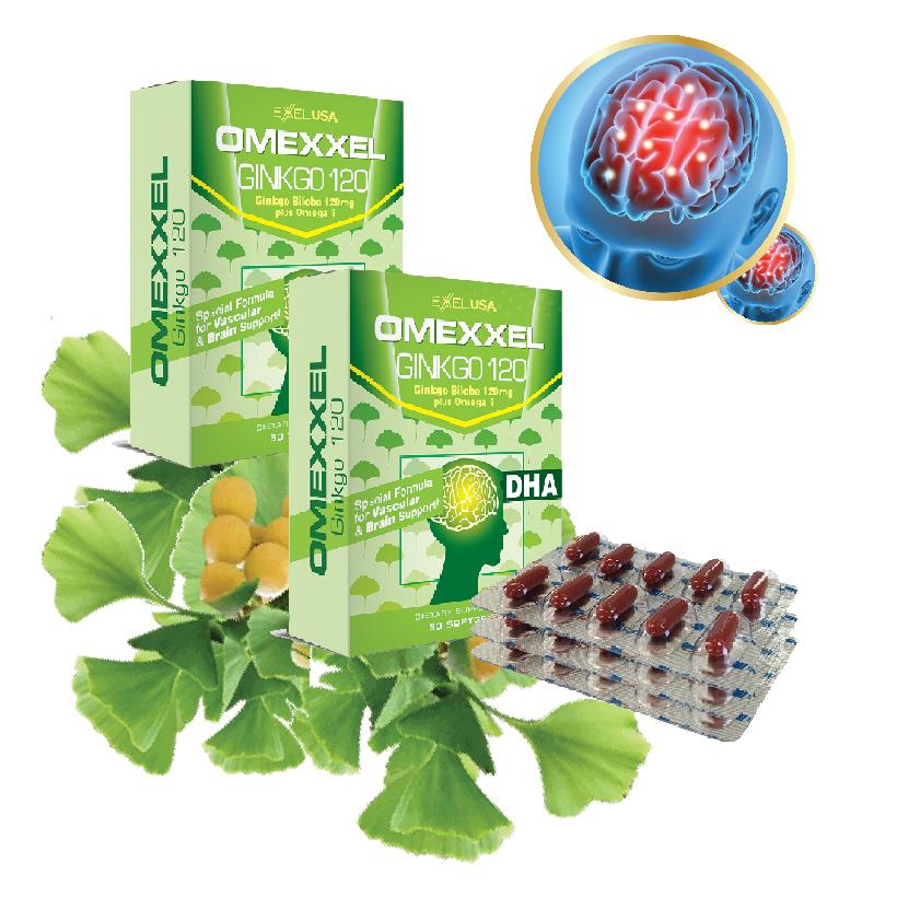 Combo viên uống hoạt huyết dưỡng não Omexxel Ginkgo 120